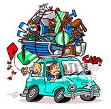 Cartoon car packed for vacation. Cartoon caricature of family car over packed on vacation trip Royalty Free Stock Photos