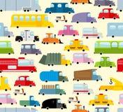 Cartoon car pattern. City traffic jam.  Stock Images