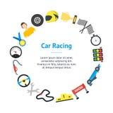 Cartoon Car Racing Banner Card Circle. Vector Stock Photos