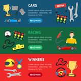 Cartoon Car Racing Banner Horizontal Set. Vector Royalty Free Stock Photo
