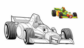 Cartoon car - racing vehicle - coloring page Stock Image