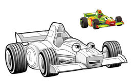 Cartoon car - racing vehicle - coloring page Royalty Free Stock Photos
