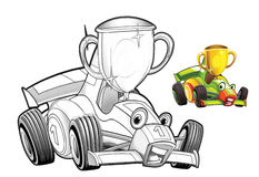 Cartoon car - racing vehicle - coloring page Stock Photos