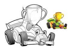 Cartoon car - racing vehicle - coloring page Stock Photos