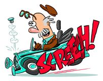 Cartoon of car screaming to a stop Stock Image
