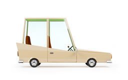 Cartoon 1970 car side. Cartoon 1970 car in hipster styles on white background, side view Royalty Free Stock Image