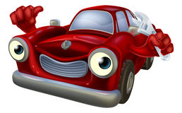 Cartoon car with spanner Stock Images