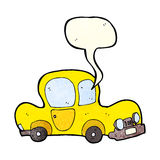 Cartoon car with speech bubble Royalty Free Stock Image