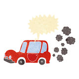 Cartoon car with speech bubble Royalty Free Stock Photography