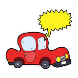 Cartoon car with speech bubble Royalty Free Stock Images