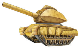 Cartoon car - tank - caricature - isolated Stock Images