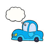 Cartoon car with thought bubble Royalty Free Stock Photography
