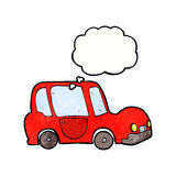 Cartoon car with thought bubble Royalty Free Stock Images