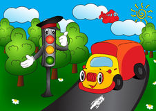 Cartoon car with traffic lights Stock Images