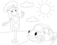 Cartoon car and traffic lights. Coloring book for kids Royalty Free Stock Image