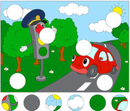 Cartoon car with traffic lights. Complete the puzzle and find th Stock Photos