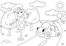 Cartoon car with traffic lights Stock Image