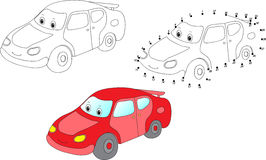 Cartoon car. Vector illustration. Coloring and dot to dot game f Stock Photos