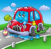Cartoon car wash on road Royalty Free Stock Image