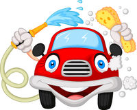 Cartoon car washing with water pipe and sponge Royalty Free Stock Image