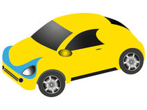 Cartoon car of yellow color on a white background. Stock Image