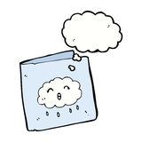 Cartoon card with cloud pattern with thought bubble Stock Images