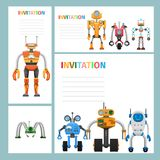 Cartoon Card Invitation with Metal Aliens Icons. Cartoon card invitation with metal aliens on white background and text. Vector illustration of mechanical Stock Photo