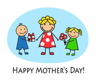 Cartoon card for Mother's Day Royalty Free Stock Photography