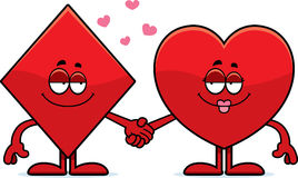 Cartoon Card Suits Holding Hands Royalty Free Stock Photography