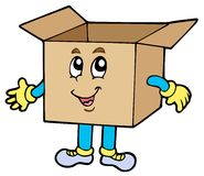 Cartoon cardboard box Royalty Free Stock Photography