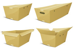 Cartoon Cardboard Box Set Stock Images