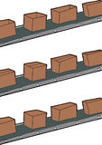 Boxes On Conveyer Belts Stock Photo