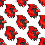 Cartoon cardinal birds seamless pattern Stock Photo