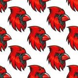 Cartoon cardinal birds seamless pattern Stock Photo