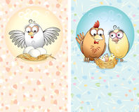 Cartoon cards. Two cards with cute chickens royalty free illustration