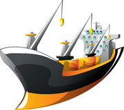 Cartoon cargo ship Stock Photos