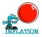 Cartoon caricature of ballooning inflation. Cartoon caricature of blue pound sign standing on text graphic inflation with red balloon with copy space Royalty Free Stock Images