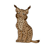 Cartoon caricature lynx. Illustration little wild cat stock illustration