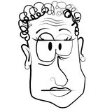 Cartoon Caricature Old Woman. A cartoon caricature illustration in black and white line art of an old grumpy woman Stock Photos