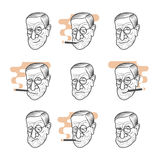 Cartoon caricature portrait of Sigmund Freud. Vector set cartoon caricature portrait of Sigmund Freud. Vector template for business card, poster, banner, design Stock Photo