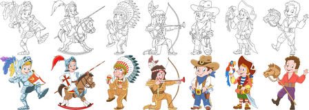 Cartoon carnival costumes set. Cartoon people set. Collection of carnival costumes. Knight, native american indian chief, cowboy, sea pirate with macaw parrot Stock Image