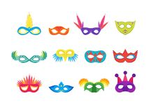 Cartoon Carnival Mask Color Icons Set. Vector. Cartoon Carnival Mask Color Icons Set Flat Style Design Elements for Masquerade, Celebration Party or Holiday Stock Image