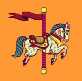 Cartoon carousel horse merry-go-round pony  Stock Images