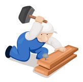 Cartoon carpenter with hammer Royalty Free Stock Photo