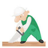 Cartoon carpenter with hand saw. Stock Images