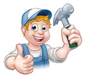 Cartoon Carpenter Handyman Holding Hammer Stock Photos