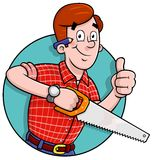 Cartoon Carpenter logo. Cartoon carpenter holding a saw and giving the thumbs up Comes in an easy edit layered illustrator CS file vector illustration