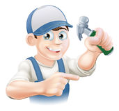 Cartoon Carpenter Pointing Stock Images