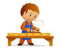 Cartoon carpenter rasp the board Stock Photography