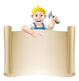 Cartoon carpenter and scroll Stock Image